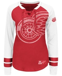 Majestic Women's Detroit Red Wings Hip Check Long Sleeve T Shirt Red White