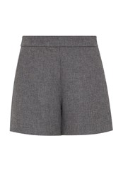 Hallhuber High Waisted Shorts With Slanted Pockets Grey