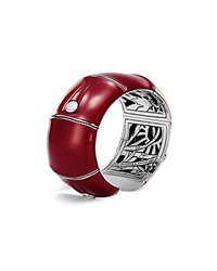 John Hardy Sterling Silver Bamboo Kick Cuff In Red Enamel Red Silver
