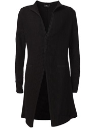 Lost And Found Ribbed Round Neck Coat Black