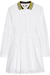 Msgm Cotton Blend Lace Shirt Dress White