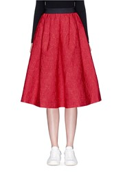 Mo And Co. Mickey Mouse Jacquard Flare Midi Skirt Red