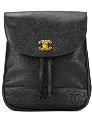 Chanel Vintage Embossed Logo Backpack Black