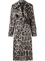 Lanvin Leopard Trench Coat Grey