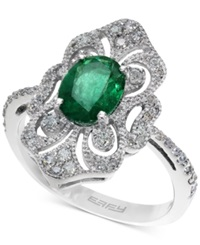 Effy Collection Brasilica By Effy Emerald 1 1 8 Ct. T.W. And Diamond 1 3 Ct. T.W. Ring In 14K White Gold Green