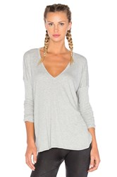 Blue Life V Neck Long Sleeve Tee Gray