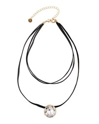 Lydell Nyc Faux Leather And Crystal Choker Necklace