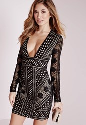Missguided Lace Long Sleeve Plunge Bodycon Dress Black Nude Black