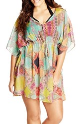 Plus Size Women's City Chic 'Flower Drum Kaftan' Print Drawstring Waist Tunic
