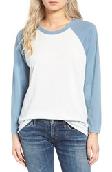 Obey Women's 'Sold Out' Baseball Tee Sky Blue Stormy Sea