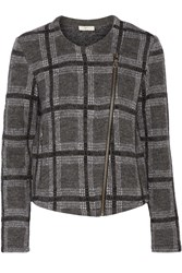 Joie Etesse Checked Wool Blend Jacket Gray