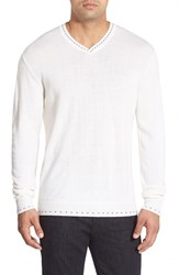 Men's Robert Graham 'Newcastle' V Neck Sweater White