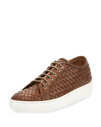 Sesto Meucci Nace Woven Lace Up Sneaker Taupe Brown Women's