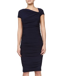Melissa Masse Asymmetric Ruched Dress Navy