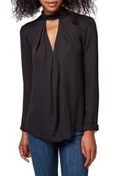 Topshop Front Cutout Long Sleeve Top Black