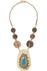 Lisa Eisner Pluto Bronze And Turquoise Necklace