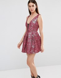 Lashes Of London Tilly Jacquard Prom Dress Burgandy Red
