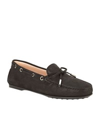 Tod's Laced Gommino Nubuck Driving Shoe Female Black