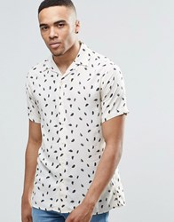 Jack And Jones Premium Short Sleeve Shirt With All Over Feather Print Off White