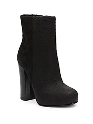 Ash Darling Crocodile Embossed Leather Ankle Boots Black
