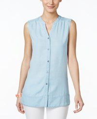 Styleandco. Style And Co. Petite Sleeveless Button Down Denim Top Only At Macy's Ice Wash