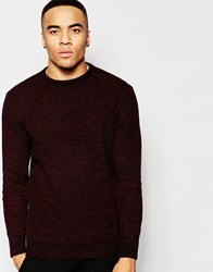 New Look Crew Neck Jumper In Red And Black Knit Burgundy