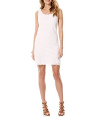 Laundry By Shelli Segal Sleeveless Lace Embroidered Dress Optic White