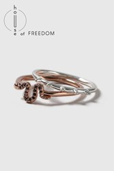 Topshop House Of Freedom Snake And Spike Ring Pack Clear