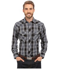 Roper 0291 Dark Navy Plaid Blue Men's Long Sleeve Button Up