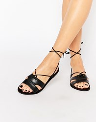 Warehouse Lace Up Basic Flat Black