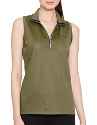 Lauren Ralph Lauren Sleeveless Mock Neck Shirt Army Olive