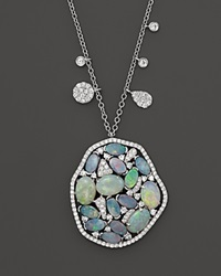 Meira T 14K White Gold Mosaic Opal Pendant Necklace 18 White Blue