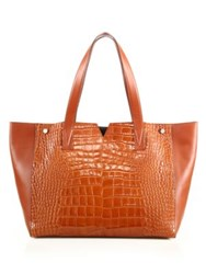 Vince Signature V Crocodile Embossed Leather And Smooth Leather Tote