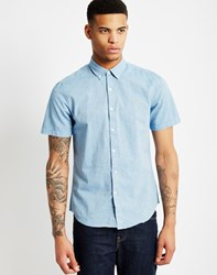 Farah Steen Slim Short Sleeve Button Down Blue
