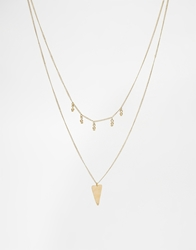 Made Double Layered Necklace Brass