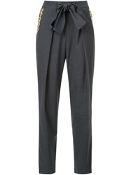 Muveil Floral Embroidered Trousers Grey