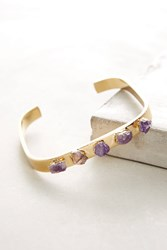 Anthropologie Amethyst Square Cuff Gold