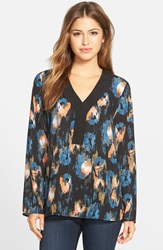 Nydj Print V Neck Tunic Regular And Petite Black Ikat