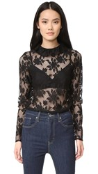 7 For All Mankind Long Sleeve Ruffled Lace Top Black