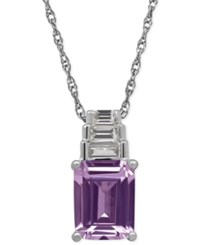 Macy's Amethyst 2 3 20 Ct. T.W. And White Topaz 1 4 Ct. T.W. Pendant Necklace In Sterling Silver