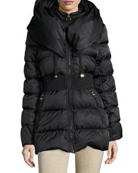Laundry By Shelli Segal Zip Front Down Puffer Coat Black