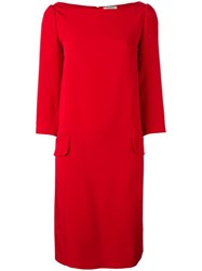 Nina Ricci Boat Neck Shift Dress Red