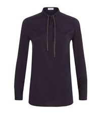 Brunello Cucinelli Chain Bow Long Sleeve Blouse Female Navy