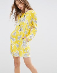 Honey Punch Swing Dress In Floral Print Yellow