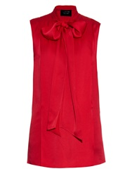 Lanvin Neck Tie Sleeveless Satin Top