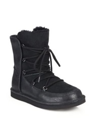 Ugg Lodge Sheepskin Lined Leather And Suede Lace Up Boots Chestnut Black
