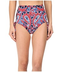 Michael Michael Kors Angelina Lace Up High Waist Bikini Bottom Red Blaze Women's Swimwear