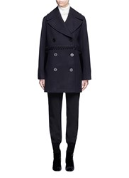 3.1 Phillip Lim Lace Up Virgin Wool Blend Peacoat Blue