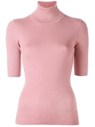 Theory Short Sleeve Roll Neck Top Pink Purple