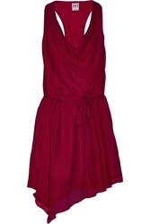 Haute Hippie Asymmetric Draped Silk Chiffon Mini Dress Red